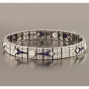 Jewelry - Blue Sapphire & Diamond Bracelet 21 Carats Women J